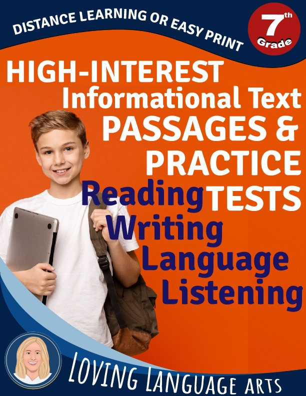 7th grade workbook informational text passages and practice tests