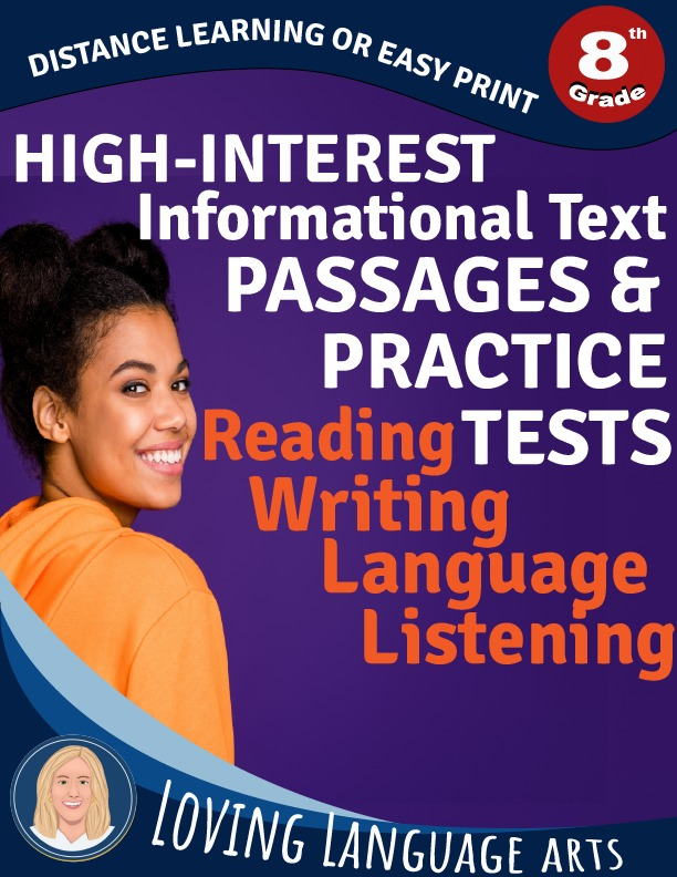 8th grade workbook informational text passages and practice tests
